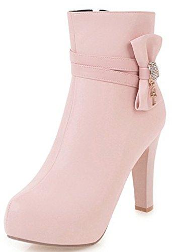 Aisun Damen Süß Kunstleder Schleife Riemchen Trichterabsatz Kalt Gefüttert Chelsea Stiefel Pink