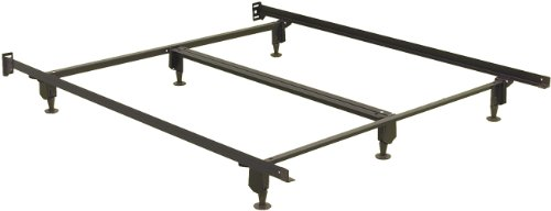 Fashion Bed Group Inst-A-Matic Premium Bed Frame 761G with Headboard Brackets and (6) 2-Piece Glide Legs, Black Finish, Queen