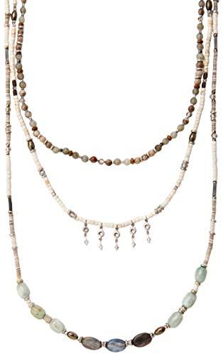 Chan Luu Grey Multi Layered Semi Precious Stones and Beaded Long Necklace ()