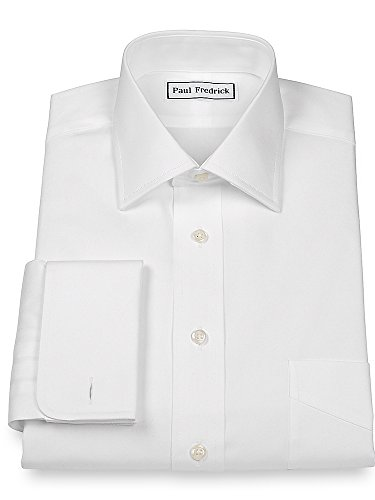 French Cuff Oxford Oxford Shirt - Paul Fredrick Men's Pinpoint Windsor Spread Collar French Cuff Dress Shirt White 17.5/34