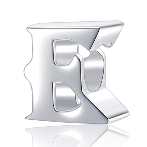 Hoobeads Authentic 925 Sterling Silver Letter Initial A-z Alphabet Beads Fits Pandora Bracelet Charms (E)
