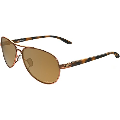 Oakley Women's Tie Breaker Polarized Aviator Sunglasses, Rose Gold, 56 - Oakley Sunglasses Woman