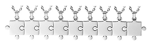 Godyce Puzzle Necklace 9 Piece Best Friends - Women Men Stainless Steel Pendant Silver Tone Jewelry Gift