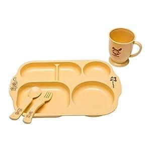 Corn starch Baby tableware set of 4 natural eco friendly organic baby, kids tableware, BPA free, PLA