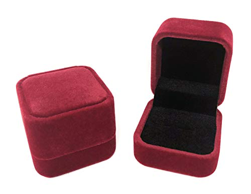 Rusoji Set of 2 Classic Velvet Ring Box Earring Jewelry Gift Case for Engagement, Wedding, Burgundy