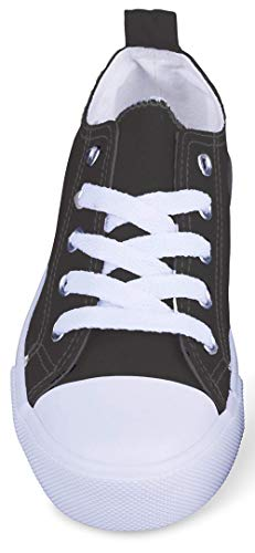(Girls Canvas Sneakers Low Top Classic Fashion Tennis Athletic Shoes Kids (4 Kids, Black and White))