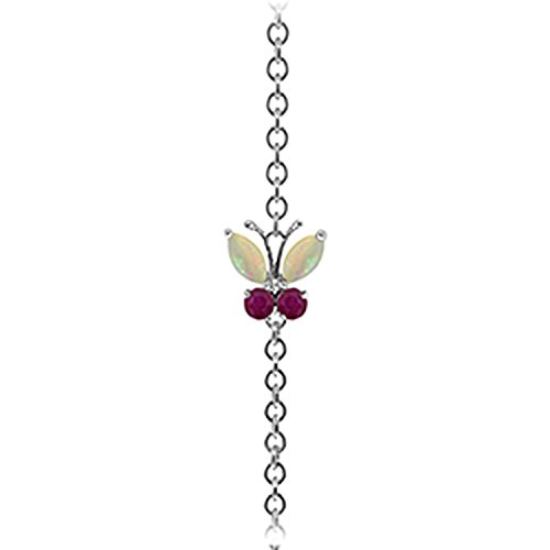 ALARRI 0.6 Carat 14K Solid White Gold Coming Down Love Opal Ruby Bracelet Size 7 Inch Length by ALARRI (Image #1)