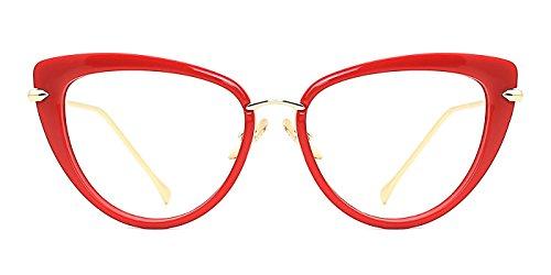 TIJN Cat Eye Frame Retro in Modern Glasses for Women 56mm (G, - Red Glasses Cateye