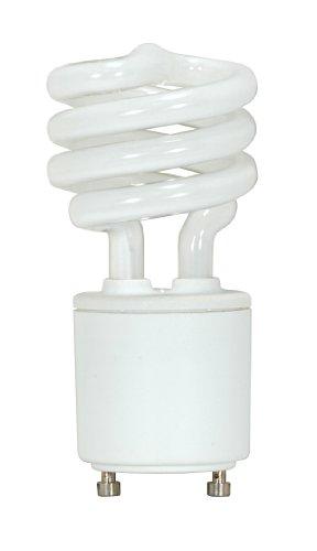 (Satco S8201 9 Watt (40 Watt) 500 Lumens Mini Spiral CFL Soft White 2700K GU24 Base Light Bulb)