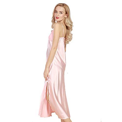 521aabe544d 4Ping Women s Spring and Summer Imitation Silk Pajamas Long Paragraph Split  Sexy Sling Sleep Dress Pink