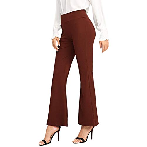 - DEATU Womens Pants Elastic Waist for Work, Summer Casual Slim Big Horn Yoga Pants Thin Stretch Wide Leg Pants Sale(Wine,XL/US-10)