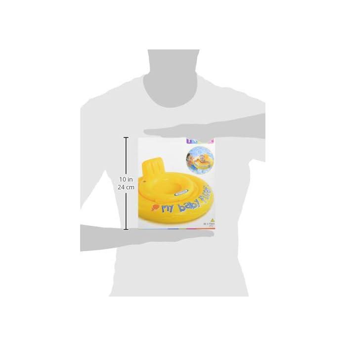 31TEU7kN3uL Flotador hinchable Intex para bebé con forma circular y de color amarillo Tiene asiento y respaldo de apoyo para mayor comodidad del bebé y un diámetro de 70 cm El flotador está fabricado con vinilo resistente y tiene 4 cámaras de aire