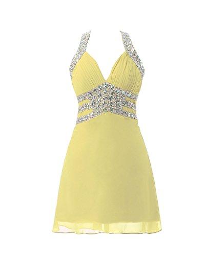 Dress V Women's Yellow Cocktail A Line Short Homecoming Neckline Dress Jazylynbride pACzqUFwp