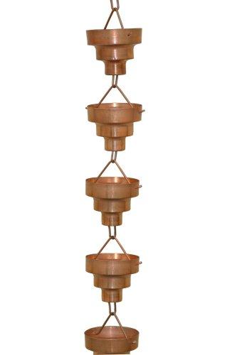 Rain Barrel Set - Monarch Pure Copper Bamboo Rain Chain, 8-1/2-Feet Length