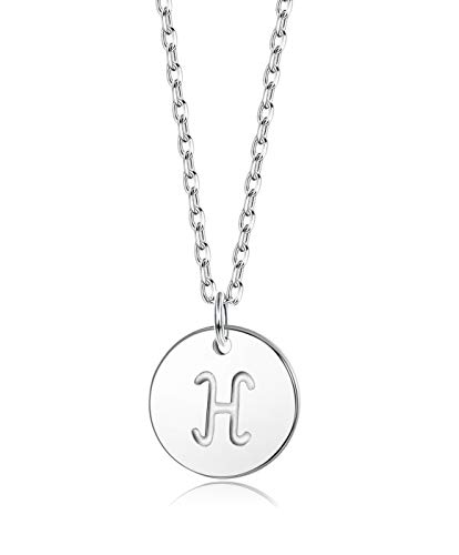 Sllaiss Initial Pendant Necklace Round Disc Engraved Letter Pendant 925 Sterling Silver Personalized Alphabet Pendant for Women Girls Teen (H) ()