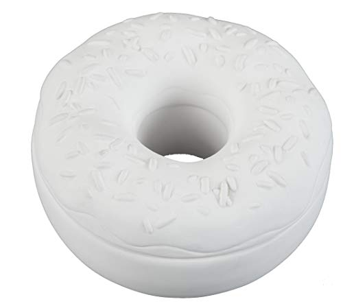 (Creative Hobbies Donut Box with Sprinkles, Case of 6, 4.25 Inch Round, Unfinished Ceramic Bisque, with How to Paint Your Own Pottery Booklet )