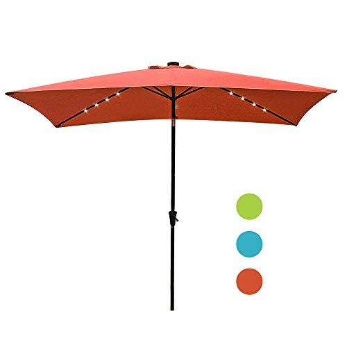 COBANA 9.8 x 6.6ft Solar Powered 22 LED Lighted Outdoor Rectangle Table Market Aluminum Crank Tilt Patio Umbrella, Brick Red