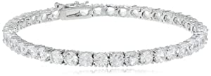 """Sterling Silver Created White Sapphire Bracelet, 7.25"""" from Amazon Curated Collection"""