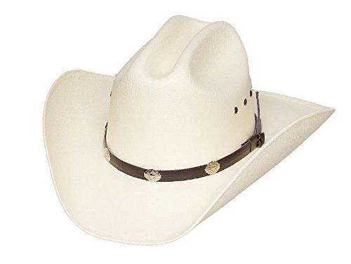 (Western Cattleman White Straw Cowboy Hat Black Band with Silver Conchos Elastic Band Inside (Small/Medium))