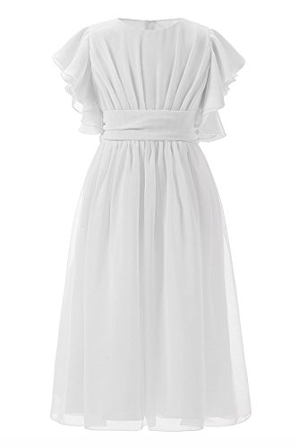 Carat Fancy Chiffon Flutter Sleeves Flower Girl Dresses (Size 12, Knee Length In White)