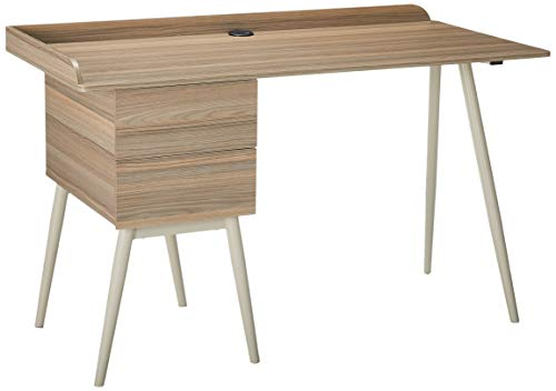 Techni Mobili Modern Desk with Drawers, Natural, - 2 drawers provide optimal storage Cable management system included Ready to assemble Construction: hardware included - writing-desks, living-room-furniture, living-room - 31TEZYD1gLL -