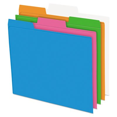 Glow Poly File Folders, 1/3 Cut Top Tab, Letter, Assorted Colors, 12/Pack ()