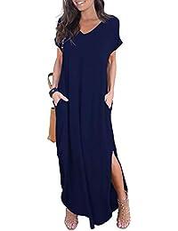 1e5b6e92e0ad Women's Casual Loose Pocket Long Dress Short Sleeve Split Maxi Dresses