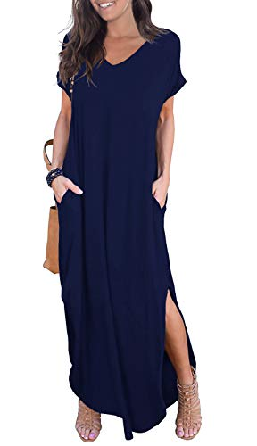 GRECERELLE Women's Casual Loose Pocket Long Dress Short Sleeve Split Maxi Dress Navy Blue S from GRECERELLE