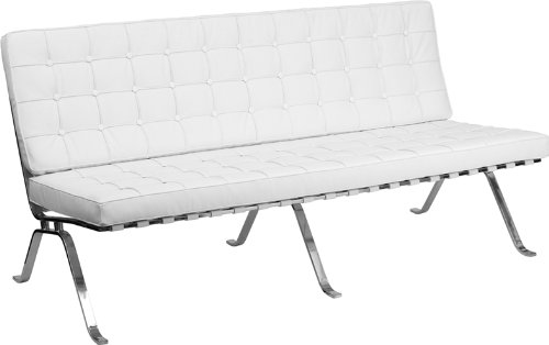 Flash Furniture Hercules Series Leather Sofa with Curved Legs, White For Sale