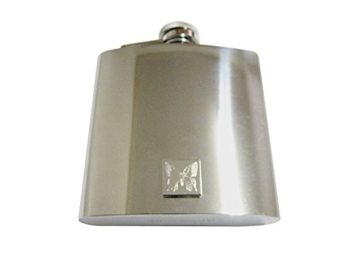 Silver Toned Etched Butterfly Bug 6 Oz. Stainless Steel Flask Etched Butterfly Pendant