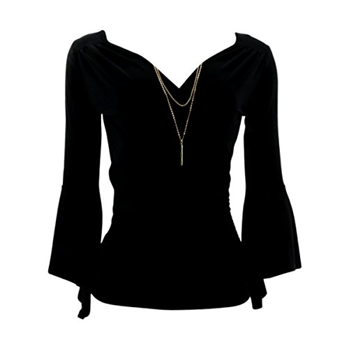 Fashion Magazine - Women's Long Sleeve Rouched Bell Sleeves With Chain Top - Black