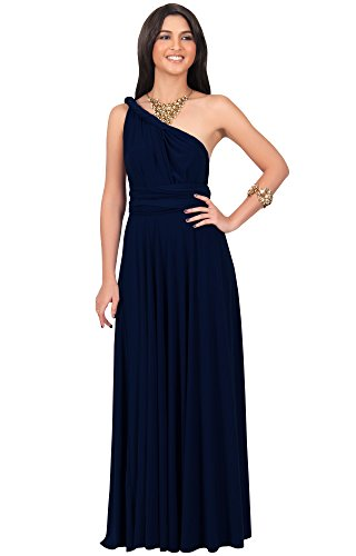 KOH KOH Womens Long Bridesmaid Convertible Wrap Cocktail Gown Sexy Pleated Elegant Evening Party Classic Formal Semi Formal Prom Maxi Dress, Color Navy Blue, Size Medium M 8-10 (1)