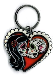 Metal Fashion Heart Ring - Cali's, Pretty In Ink Ashes Red Heart, Officially Licensed Artwork - Metal Keychain