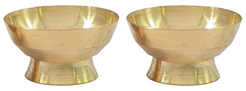 DollsofIndia Pair of Brass Bowls for Sandalwood Paste - Dia - 2.5 inches & Height - 1.5 inches Each (Height Sandalwood)