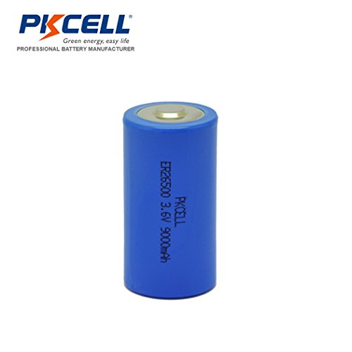 3.6V ER 26500 C Size 9000mAh Lithium Thionyl Chloride Battery With Button Top (6pc) by PK Cell (Image #1)
