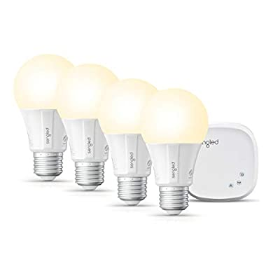 Sengled Smart LED Soft White A19 Starter Kit, 2700K 60W Equivalent, 4 Light Bulbs & Hub, Works with Alexa & Google Assistant