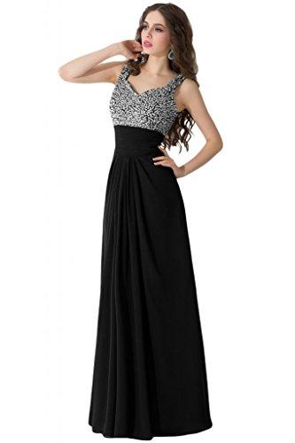 sunvary Spaghetti Correa Rhinestone Draped vestidos de volantes para Prom Noche negro