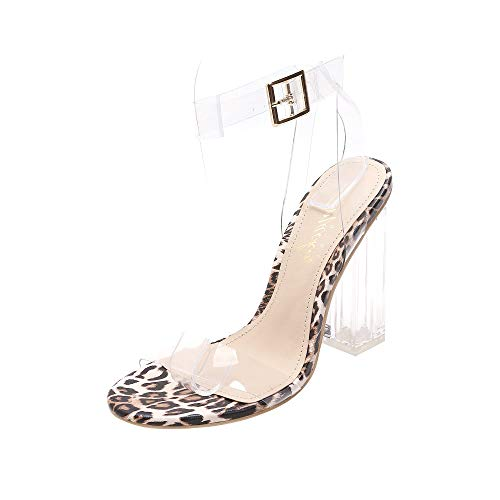 MACKIN J G349-1 Transparent Open Toe Ankle Strappy Block Chunky Heel Sandals with TPU Clear Plastic (11, Leopard)