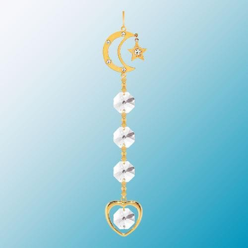24K Gold Plated Hanging Sun Catcher or Ornament..... Moon & Star Topped Crystal Chain with Clear Swarovski Austrian Crystal ()