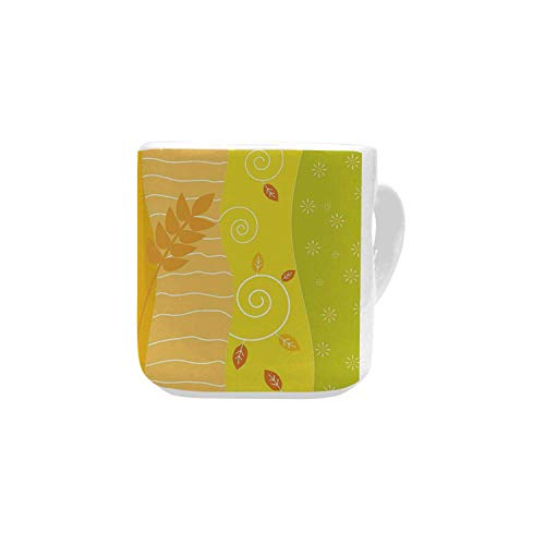 - Colorful White Heart Shaped Mug,Colorful Stripes with Sunflowers and Wheat Farm House Themed Abstract Image Decorative for Home,2.56
