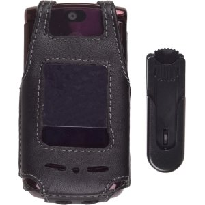 V9m Clip (Wireless Solutions Leather Case with Swivel Clip for Motorola RAZR2 V9/V9M, Black)