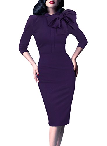 VFSHOW Womens Celebrity Vintage Bowknot Cocktail Party Stretch Bodycon Dress 1226 PUP M ()