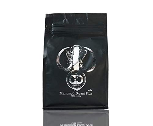 Caveman Coffee Mammoth Plus, MCT Oil, Medium Roast, Colombia Single Origin, Low Acidity, UTZ & Rainforest Alliance Certified, Paleo Certified, Whole Bean, 12 oz Bag