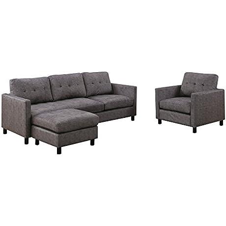 ACME Furniture 53315 Ceasar Sectional Sofa Gray Fabric