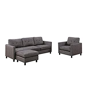 ACME Ceasar Sectional Sofa (Rev. Ottoman) – – Gray Fabric