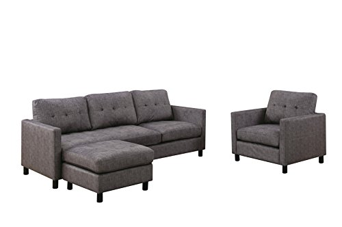 Ottoman Sectional Fabric - ACME Ceasar Gray Fabric Sectional Sofa with Reversible Ottoman