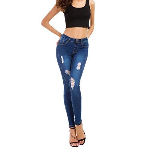 Azul Alta color Oscuro Mujer Tamaño S Estiramiento Pantalones Jeans Vaqueros Rxf Tight Cintura Claro Wxq4U8Yngw