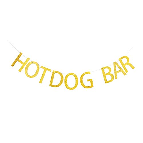 Hotdog Bar Banner, Gold Gliter Paper Sign Decors for Family/Birthday/Wedding/Engagement/Baby Shower Party ()