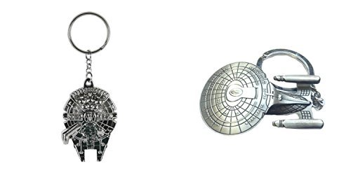 (2-Pack) Star Wars Millenium Falcon and Star Trek Enterprise Keychain Keyring with Giftbox ()
