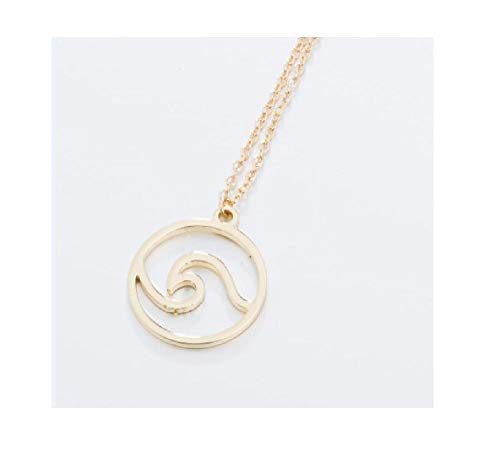 Waves Necklace Pendant with Chain Beach Nautical Surfing Jewelry Choker Necklaces Ocean Life Gold